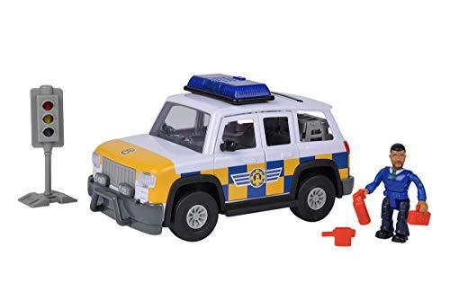 Simba 109251096 - Feuerwehrmann Sam Polizei Auto 4x4 mit Malcom Figur, Mit Originalsound, Türen und...