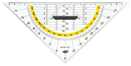 Wedo 527 Geometrie Dreieck 25 cm, Kunststoff, abnehmbarer Griff, Hypotenuse, Facetten, Tuschenoppen,...