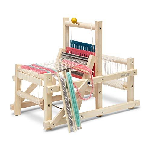 Micki 10-217100 Kinder Webstuhl aus Holz - inkl. 3 Stück Wolle je 5 Meter - leichte Handhabung - BxLxH:...