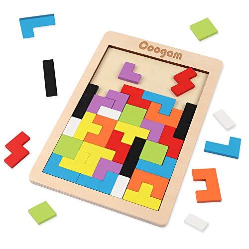 Coogam Holz Puzzle 40 Stück Tangram Puzzle Gehirntraining Spielzeug für Kinder, Holzpuzzle Box Gehirn...