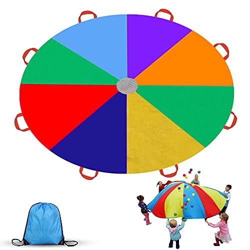 RTDEP Schwungtuch 9FT Parachutes für Kinder Regenbogen Fallschirm mit 8 Griffen für Indoor Outdoor...