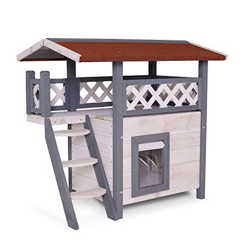 lionto by dibea Katzenhaus Lodge Holz für Katzen mit Terrasse und Treppe 77x50x73 cm grau/weiß
