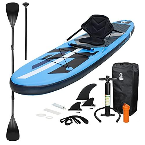 ECD Germany Aufblasbares Stand Up Paddle Board Kajak Sitz | 305 x 78 x 15 cm | Blau | PVC | bis 120kg |...