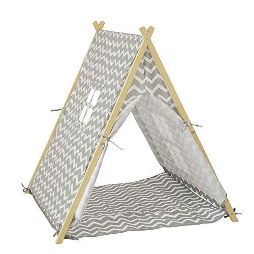 SoBuy OSS02-HG Spielzelt Zelt für Kinder mit 2 Türen und einem Fenster Spielhaus hellgrau BHT ca.:...