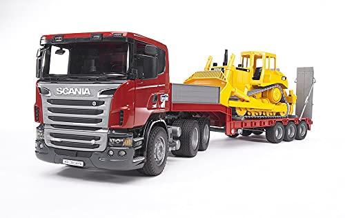 Bruder 03555 - Scania R-Serie LKW mit Tieflader und Cat Bulldozer
