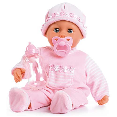 Bayer Design 93824AA Babypuppe First Words mit Schlafaugen, spricht 24 Babylaute, mit Schnuller und...