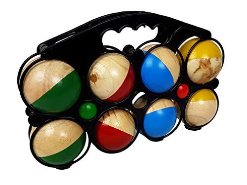 Gravidus Boccia Spiel Boccia Kugeln, Boule Set - mit 8 farbigen Kugeln im Durchmesser von 7 cm und 2...