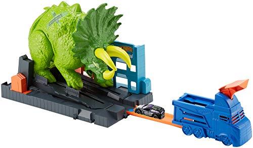 Hot Wheels GBF97 - City Triceratops Angriff Dinosaurier Spielset mit Starter und Auto, Spielzeug ab 4...