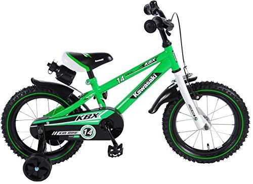 Kawasaki Kinderfahrrad Jungen 14 Zoll mit Vorradbremse am Lenker und Rücktrittbremse, Stützräder Grün...