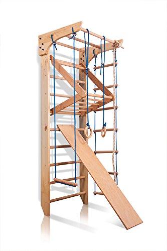 Sportgerät Turnwand Klettergerüst Kinder-3-240 Holz Kinder Gym Kletterwand Sprossenwand mit Stange...