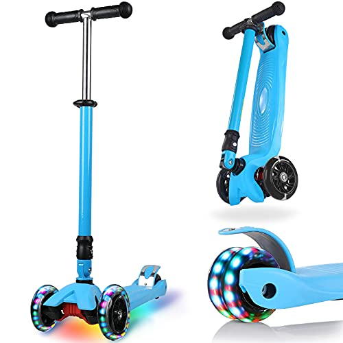 IMMEK Kinderroller 3 Räder Faltbar für Kinder Roller ab 3-14 Jahre Kleinkind Scooter für Jungen und...