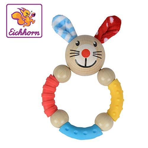 Eichhorn - Baby-Greifring mit Hasenmotiv