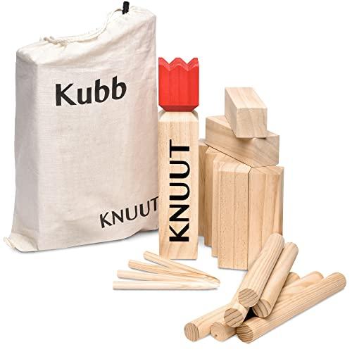 Toyfel Knuut Original Kubb Spiel XXL - FSC® Holzspiel mit Stoffbeutel – Wikingerspiel Outdoor Spiele -...