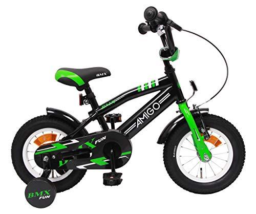 Amigo BMX Fun - Kinderfahrrad für Jungen - 12 Zoll - mit Handbremse, Rücktritt, Lenkerpolster und...
