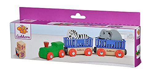 Eichhorn 195020 100001351 - Tierzug, 5-tlg., Lok mit 2 Wagons und 2 Tieren: Zebra/ Elefant, 24cm, FSC...
