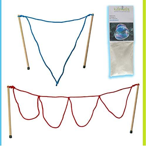Kidzmedia - 2 Paar Stäbe + 5L Pulver Riesenseifenblasen (33cm: Loop / Multi) Seifenblasen Kinder