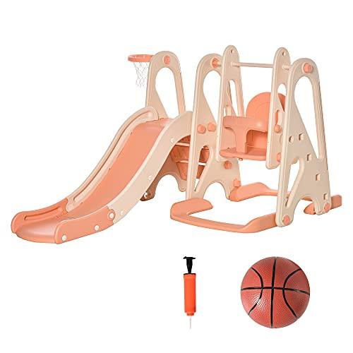 HOMCOM 3 in 1 Spielturm mit Kinder Rutsche Basketballkorb Schaukel Leiter Spielzeug Gartenrutsche...