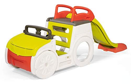Smoby 840205 Abenteuer-Spielauto, großes Spielcenter mit Sandkasten und Rutsche mit Wasseranschluss,...