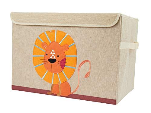 Bieco Aufbewahrungsbox mit Deckel | Löwen Motiv 65L faltbar | ca. 36x36x51cm | Spielzeugkiste mit Deckel...