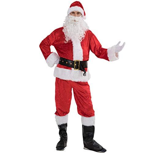 EraSpooky Weihnachten Erwachsene Deluxe Samt Weihnachtsmann Kostüm Anzug (X-Large)