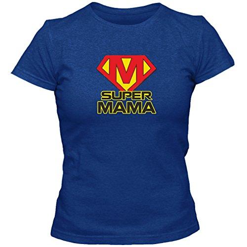 T-Shirt Geschenk Super Mama Muttertag Geburtstag, Blau, L