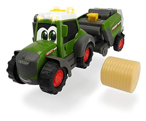 Dickie Toys Happy Fendt Hay Baler, Traktor mit Heuballenpresse, Spielauto für Kinder ab 1 Jahr, Traktor,...