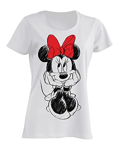 Disney Damen T-Shirt Minnie Mouse, M, Weiß