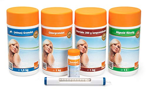 Steinbach Poolpflege Chlor Starterset, Starterset 6-teilig, Algezid, Chlorgranulat, Chlortabs, pH-...