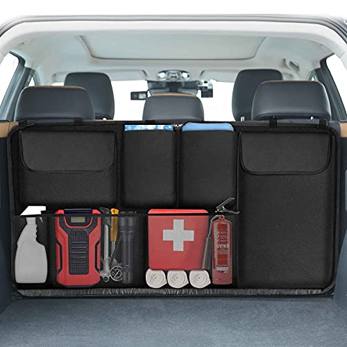 EZILIF Kofferraum Organizer Auto, Großen Sitztasche Kofferraumtasche mit Elastische Schnallen und Klett,...