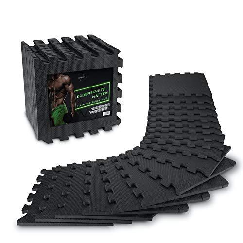 AthleticPro Bodenschutzmatte Fitness [31x31cm] - 18 extra dicke Bodenmatten [20% mehr Schutz] -...
