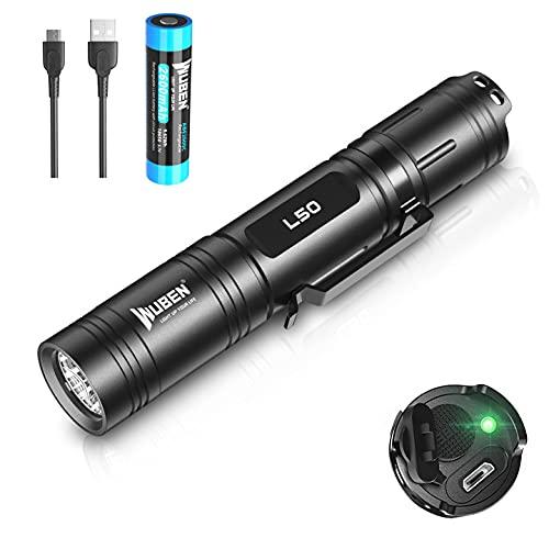 WUBEN L50 Taschenlampe LED 1200 Lumens Super hell Handlampe Micro-USB Aufladbar Taktische Taschenlampen 5...