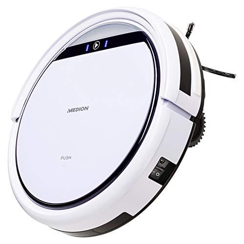 MEDION MD 18500 Saugroboter mit Ladestation (90 Min Laufzeit, Roboterstaubsauger für Hartböden,...