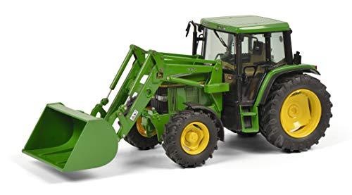 Schuco 450773300 6300 mit Frontschaufel und John Deere Aufkleber, Traktor, Modellauto, Maßstab 1:32,...