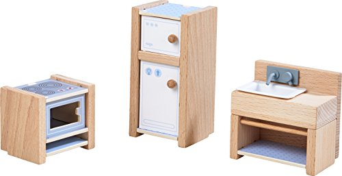 HABA 303838 - Little Friends – Puppenhaus-Möbel Küche | Mit Herd, Kühlschrank und Spüle | Passend...
