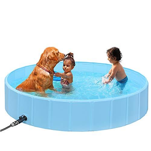 SHYOSUCCE 160cm Faltbare Große Hundepool, Hundebadewanne mit Schlauchverbinder, rutschfest PVC...