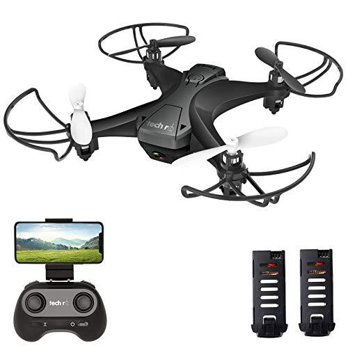 tech rc Drohne mit Kamera HD FPV RC Mini Drone mit 2 Akkus 2.4Ghz Ferngesteuerte Quadrocopter Anfänger...