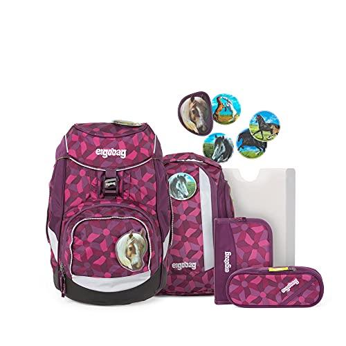 ergobag Unisex-Kinder Pack-Set Rucksack, NachtschwärmBär, Ergonomischer Schulrucksack, Set 6-teilig, 20...