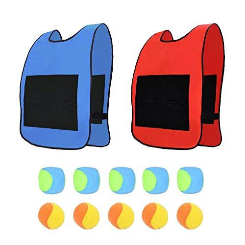 AiYoYo Wurfspiele Spielzeug Set 2 Oxford Tuch Sticky Weste(52x38cm) mit Klettverschluss und 10 Dodgeball,...