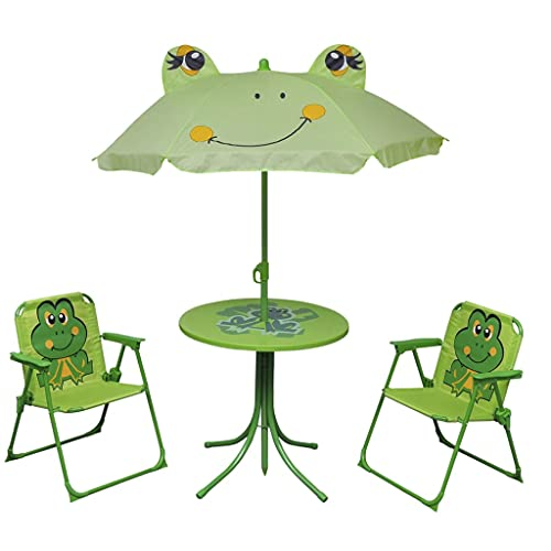 vidaXL 4tlg Campingstuhl Tisch Sitzgruppe Sonnenschirm Kinder Gartenmöbel Froggy