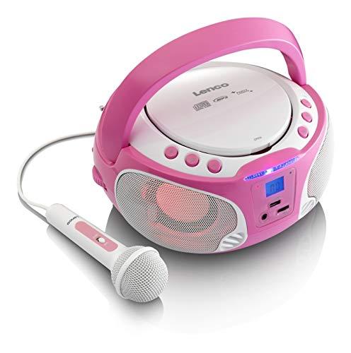 Lenco SCD-650 - CD-Player für Kinder - CD-Radio - Karaoke Player - Stereoanalge - Boombox - MP3 und USB...