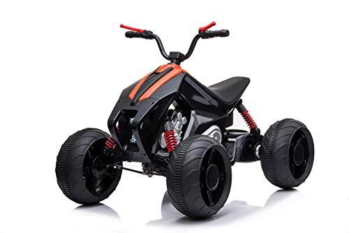 ES-TOYS Kinderfahrzeug - Elektro Kinderquad 718' 2x35W, 12V7Ah - Orange-Schwarz (Schwarz-Orange)