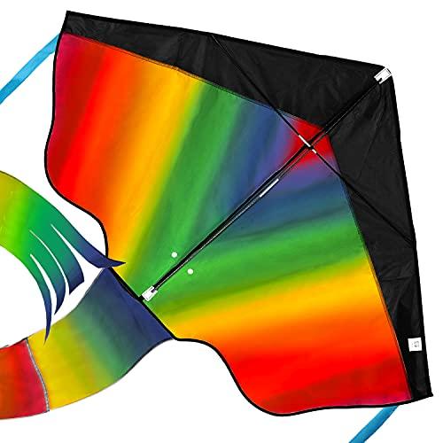 Riesiger Regenbogen-Leichtwinddrache mit 50m Drachenschnur - Lenkdrachen für Kinder - Kinder-Drachen -...
