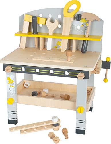 Small Foot 11805 Werkbank Miniwob Kompakt aus Holz, mit umfangreichem Zubehör und Schraub-Set, für...