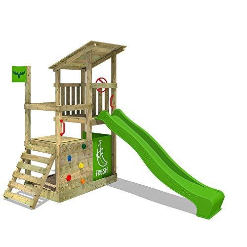 FATMOOSE Kletterturm FruityForest Fun XXL Spielturm Klettergerüst mit Rutsche, 3 Spielebenen und großem...