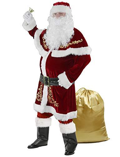Ahititi Weihnachtsmann Kostüm für Männer 12 Stk Set Weihnachtsfeier Cosplay für Erwachsene Roter...