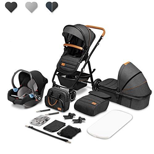 Lionelo Amber Kinderwagen 3 in 1 Kombikinderwagen Set sportlicher Sitz fester Babywanne Autositz Tasche...
