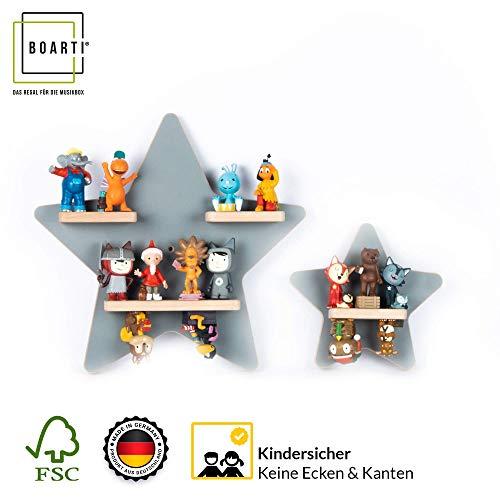 BOARTI Kinder Regal Sammelset Sterne in grau - geeignet für die Toniebox und ca. 22 Tonies - zum Spielen...