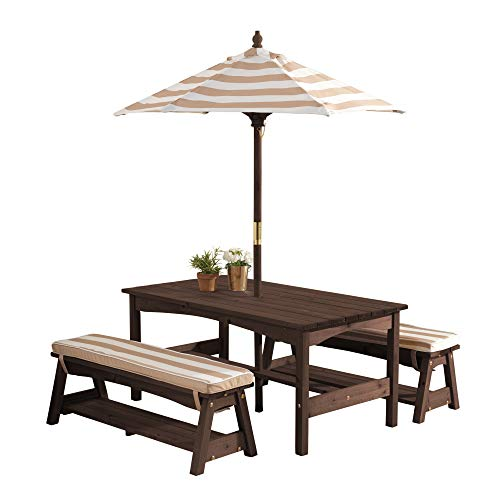 KidKraft 500 Table & Bench Set with Cushions & Umbrella - Oatmeal & White Stripes