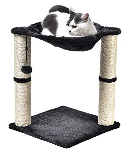 Amazon Basics – Katzen-Kratzbaum mit Haus, Hängematte, Bett und Kratzstamm, 41 x 51 x 41 cm, grau
