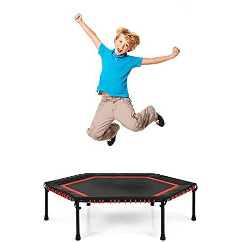 COSTWAY φ 126 cm Mini Trampolin, Fitness Trampolin faltbar, Kindertrampolin, Gartentrampolin, Indoor-...